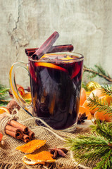 Mulled wine. With spices. Selective focus.