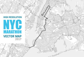 NYC Marathon Vector Map 2017