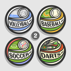 Vector set of sport logos, 4 round simple badges with flying ball on curved trajectory, circle sports signs of minimal design with games equipment, original type for words of different kind of sport.