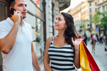 Man and woman in shopping