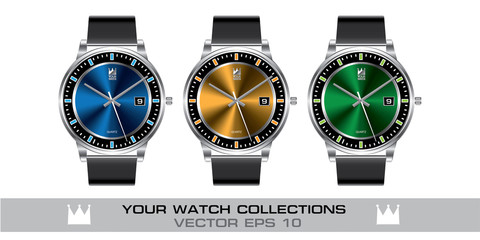 Stainless steel wristwatch color gray leather strap collection on white background vector illustration.