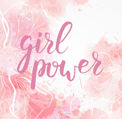 Watercolored floral typography background