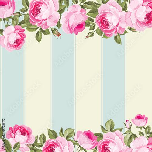 Ornate Pink Flower Border With Tile Elegant Vintage Wallpaper Design Vector Illustration