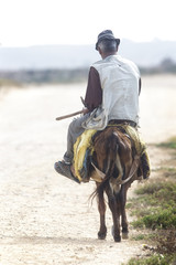 Old man riding a donkey along a track, Oualidia, Morocco.