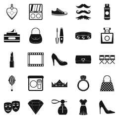 Stylist icons set, simple style