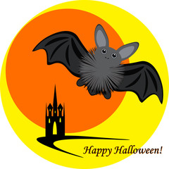 Halloween inllustration with bat moon and castle