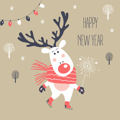 Christmas and New Year card with deer. Vector illustration