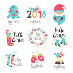 Winter lettering set with holiday elements. Vector illustration