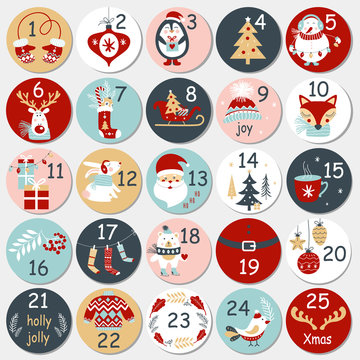 Christmas Advent calendar with hand drawn elements. Xmas Poster. Vector illustration