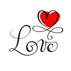 LOVE original custom hand lettering, handmade calligraphy, design element of the red heart flourish