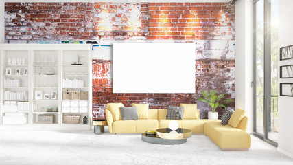 Interior with view, luxury yellow home furnishings, empty frame and copyspace in horizontal arrangement. 3D rendering.