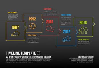 Timeline template made from speech bubbles