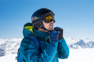 Man wearing ski helmet