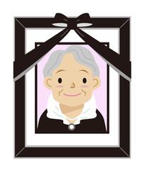 おばあさん 遺影 黒枠 額縁