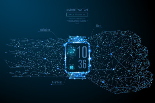 Abstract image of a Smart watch in the form of a starry sky or space, consisting of points, lines, and shapes in the form of planets, stars and the universe. Vector Technology concept. Gadget image