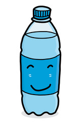 drinking water bottle / cartoon vector and illustration, hand drawn style, isolated on white background.