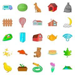 Suburban house icons set, cartoon style