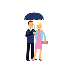 Young family couple standing under blue umbrella vector illustration