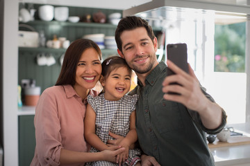 Family taking a selfie with a smartphone