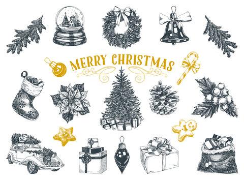 Beautiful vector hand drawn christmas Illustrations set.