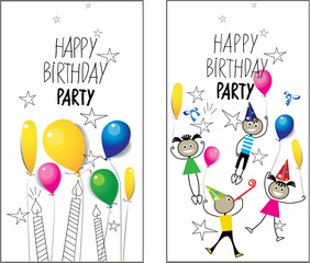 drawing image of stick figure kids on birthday placard, party, design vector element for invitation