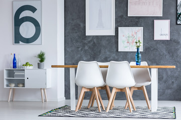 Dining room with blue elements