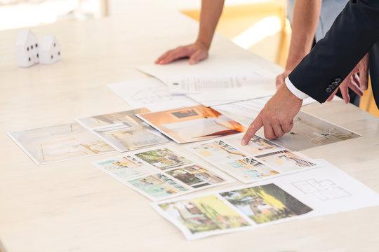 Home seller presenting property advantages