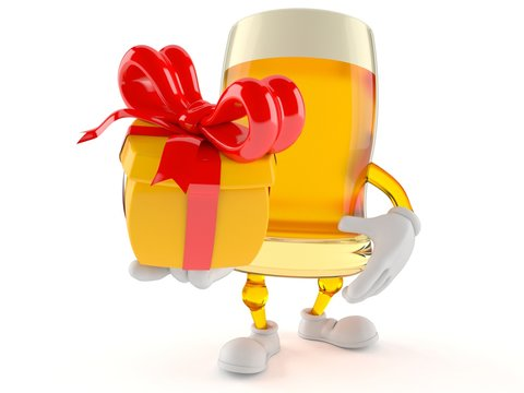Beer character holding gift