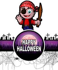 Happy Halloween Design template with Cute cartoon pirate.