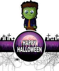 Happy Halloween Design template with Frankenstein.