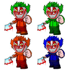 Set of evil clown holding a knif, face horror and crazy maniac.  Vector illustration.