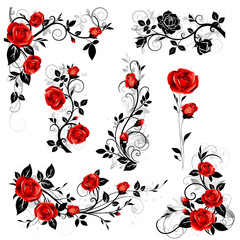 Vector set of decorative calligraphic design elements with red vintage rose and black leaves for border and frame decor.
