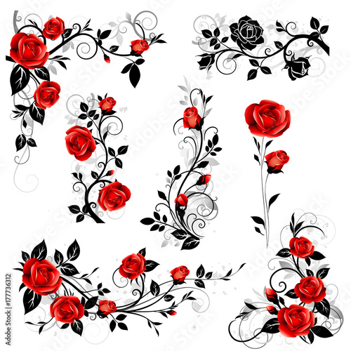 Vector Set Of Decorative Calligraphic Design Elements With Red Vintage Rose And Black Leaves For Border