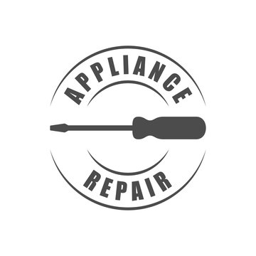 Appliance repair service logo with screwdriver silhouette icon