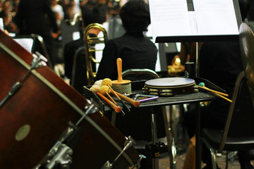 musical instrument on the stage of music band