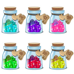 Jars with colorful crystals. Image in cartoon style for game stuff or other design needs. Vector illustration isolated on white background