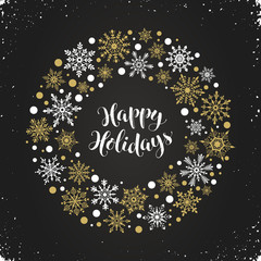 Happy holidays greeting card template. Modern winter lettering with snowflakes on chalkboard. Merry Christmas vector illustration with text.