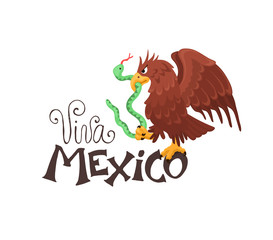 Viva Mexico illustration. Mexican eagle sitting on text isolated on white background. Mexican coat of arms.