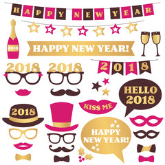 New Year party design elements and photo booth props