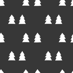 Black and white wrapping paper. Vector seamless geometric pattern with Christmas trees.