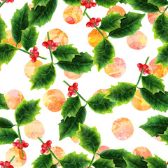 Seamless pattern with watercolor Christmas holly and sheet music
