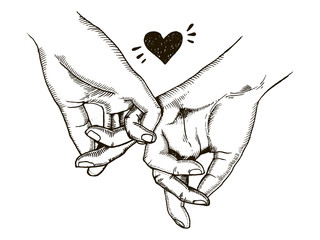Couple in love hold hands engraving vector