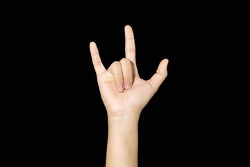 Hand sign of like, love, three, etc. on black background