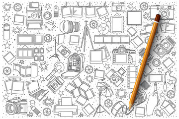 Hand drawn set of photo vector doodles