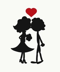 Kiss, romantic picture with funny silhouettes