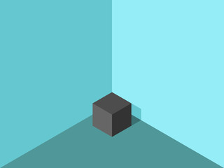 Lonely cube in corner