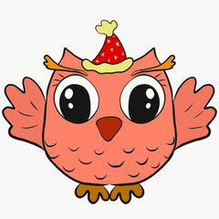 Funny owl in a Christmas hat