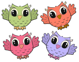 Four cute funny colored owls