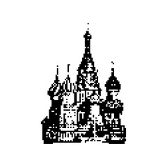 Basil's Cathedral in Moscow 8 bit minimalistic pixel art vector illustration isolated on white background