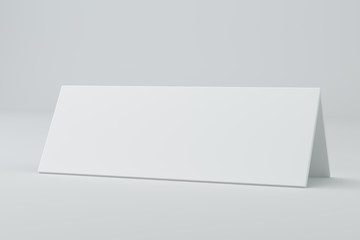 Blank table card, sign template. 3D rendering